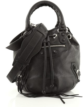 Balenciaga Holiday Pom Pon Rubber Studs Bag Leather Mini