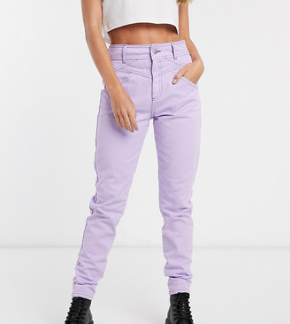 Reclaimed Vintage straight leg jean with seam detail in lilac