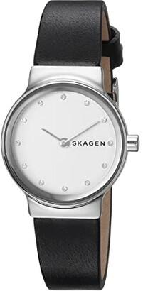 Skagen Freja Two-Hand Watch (SKW2668 Silver Black Leather) Watches