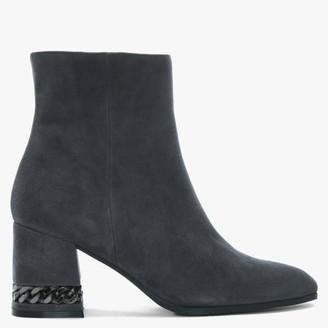 Daniel Chainer Grey Suede Block Heel Ankle Boots