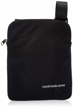 Calvin Klein Men's Ckj Monogram Nylon Flat Pack Shoulder Bag Black (Black) 0.1x0.1x0.1 cm (W x H x L)
