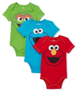 Sesame Street Baby Boy Short Sleeve Bodysuits, 3-Pack