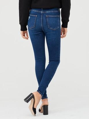 Very Ella High Waist Random Rip Skinny Jean - Dark Wash