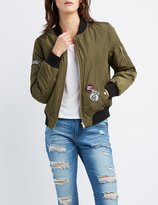 Charlotte Russe California Patched Zip-Up Bomber Jacket