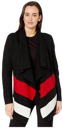 Lauren Ralph Lauren Open-Front Wool Sweater (Polo Black/Lipstick Red/Mascarpone Cream) Women's Clothing