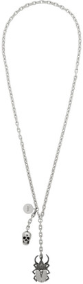 Alexander McQueen Silver Beetle and Skull Necklace