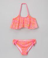 Jantzen Neon Pink Crochet Ruffle Bikini - Girls
