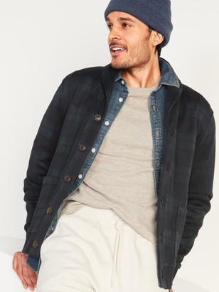 Old Navy Plaid Sweater-Fleece Shawl-Collar Cardigan for Men