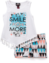 Dollhouse Teal 'Smile More' Fringed Tank & Shorts - Infant, Toddler & Girls