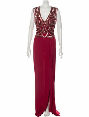 Naeem Khan V-Neck Long Dress Red