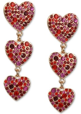 INC International Concepts Inc Gold-Tone Colored Pave Heart Linear Drop Earrings, Created for Macy's