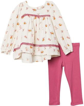 Jessica Simpson Floral Long Sleeve Babydoll Top & Leggings Set