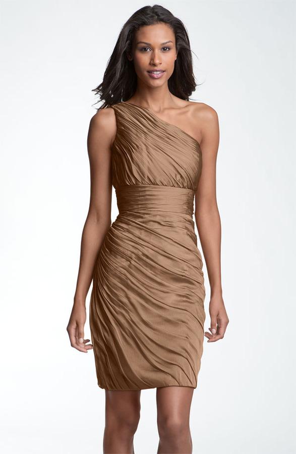 Monique Lhuillier ML Bridesmaids Ruched One Shoulder Chiffon Sheath Dress (Nordstrom Exclusive)
