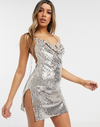 I SAW IT FIRST sequin cowl neck backless dress