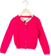 Burberry Girls' Long Sleeve Button-Up Cardigan