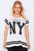 Yours Clothing White & Black NY Varsity Print Short Sleeve T-Shirt