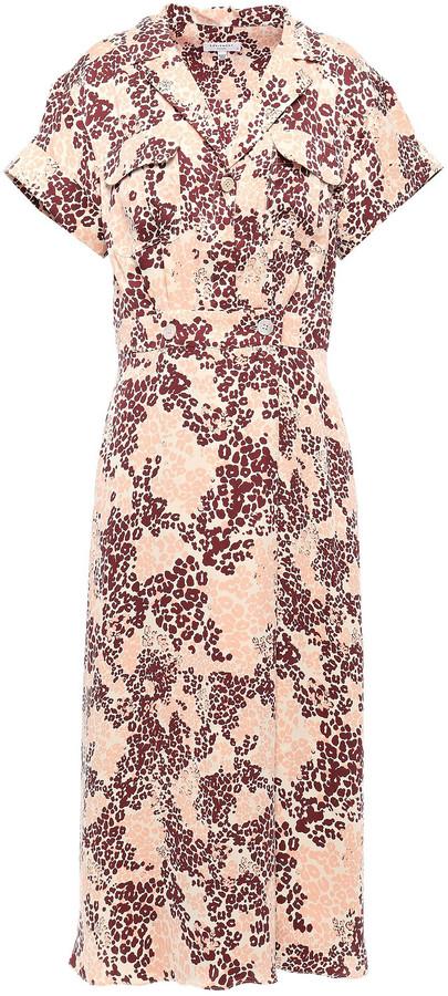 Equipment Leopard-print Silk-blend Midi Shirt Dress