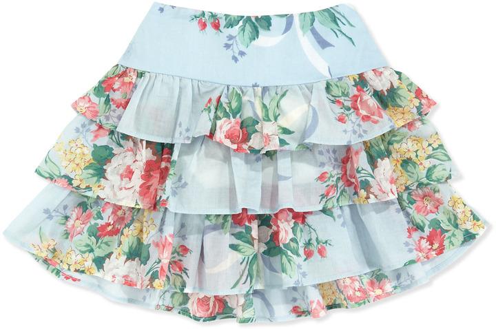 Ralph Lauren Floral Ruffle Skirt, Blue, 2T-3T