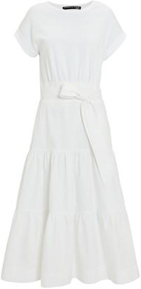 Veronica Beard Trail Belted Cotton Midi Dress