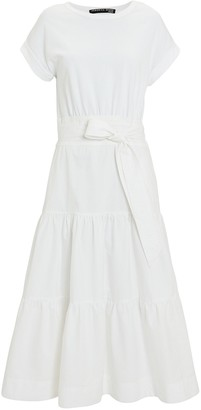Veronica Beard Trail Belted Cotton Midi Dress