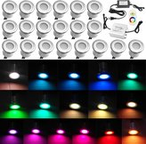 """Low Voltage Deck Lighting, QACA 0.3W~0.6W Multi-Color LED Deck Lights Kit 1-1/10"""" Stainless Steel Recessed Wood Outdoor Yard Garden Decoration Lamp Patio Stairs Landscape Step Lighting"""