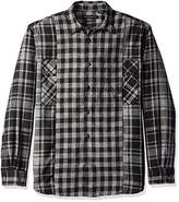 French Connection Men's Long Sleeve Flannel Stripe Button Down Shirt