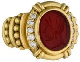 Judith Ripka 18K Carnelian Intaglio & Diamond Signet Ring