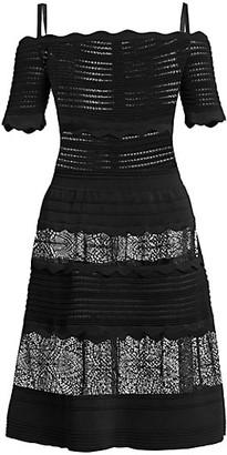 ZUHAIR MURAD Nerja Off Shoulder Leones Lace Knit Dress
