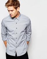 Replay Shirt Stretch Slim Fit In Grey
