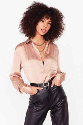 Nasty Gal Womens Sleek the Truth Satin Oversized Shirt - Mauve