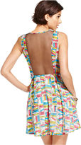 Monroe Marilyn Juniors Dress, Sleeveless Book-Print Mesh A-Line