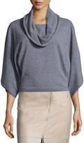 Lafayette 148 New York Cropped Kimono-Sleeve Sweater, Nickel