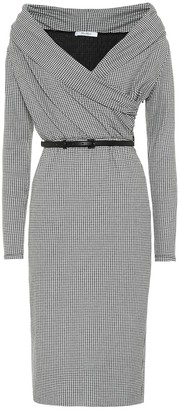 Max Mara Jimmy checked off-the-shoulder dress