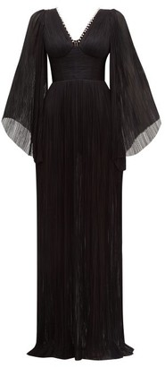Maria Lucia Hohan Catalina Plisse Silk-tulle Maxi Dress - Black