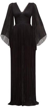 Maria Lucia Hohan Catalina Plisse Silk-tulle Maxi Dress - Black