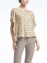 Banana Republic Easy Care Print Slit-Sleeve Top