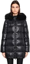 Duvetica Kappa Due Shiny Nylon Down Coat W/ Fur