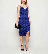 New Look Stone Flocked Spot Wrap Midi Dress