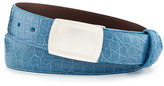 W.KLEINBERG W. Kleinberg Glazed Alligator Belt with Plaque Buckle, Sky Blue (Made to Order)