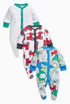 Next Boys Multi Tractor Print Sleepsuits Three Pack (0mths-2yrs)