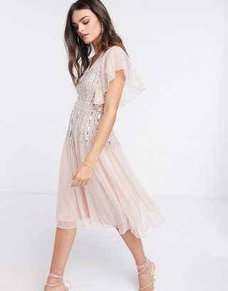 Frock and Frill scattered sequin midi skater dress with angel sleeve in blush