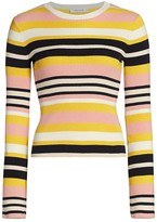 Frame Baja Stripe Cotton & Cashmere Rib-Knit Sweater