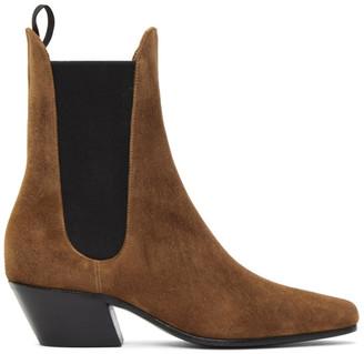 KHAITE Tan Saratoga Ankle Boots