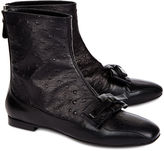 No.21 Black Ostrich Leather Bow Boots