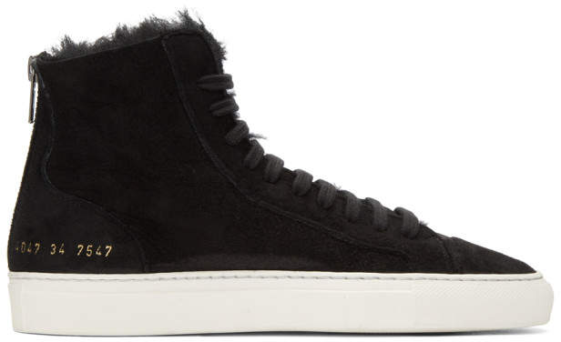Common Projects Woman By Woman by SSENSE Exclusive Black Shearling Tournament High-Top Sneakers