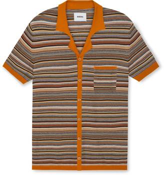 Nanushka Taro Camp-Collar Striped Knitted Cotton Shirt