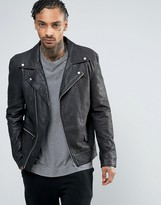 Religion Textured Leather Biker Jacket