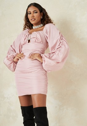 Missguided Pink Ruched Diamante Buckle Puff Sleeve Mini Dress