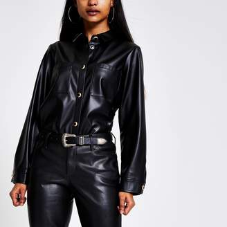 River Island Womens Petite Black faux leather jacket
