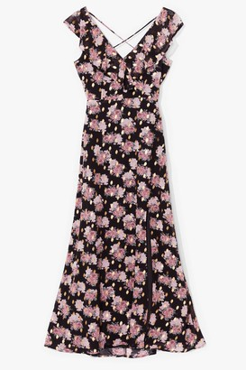 Nasty Gal Womens Lace-Up All Night Floral Maxi Dress - Black - 6, Black